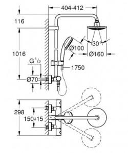Sestav za prho s termostatom za stensko vgradnjo GROHE New Tempesta Cosmopolitan, 27922, 5 let garancije, načrt